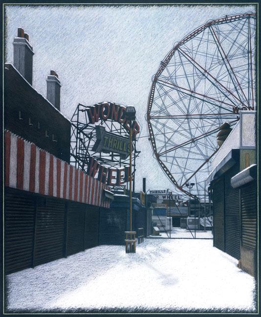"New York City Scene No 4 (Coney Island in Winter)   Pencil, pastel and oil pastel on board, 32-1/4"" x 26-7/8"", 1998"