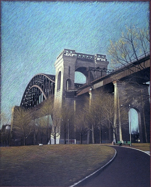 "New York City Scene No 3 (Hell Gate Bridge)   Pencil, pastel and oil pastel on board, 32-1/4"" x 26-7/8"", 1992"