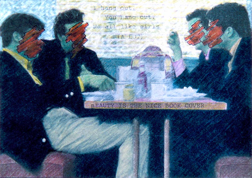 "The Diner Boys   Colored pencil and ink on newsprint, 4-5/8"" x 6-1/2"", 1982"