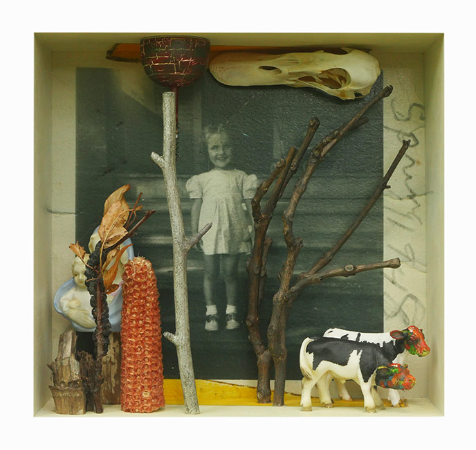 """The Illinois Farm Girl that I Married (A Wee Bit of Magic)   Mixed media and found objects,10-3/8"""" x 11"""" x 4-1/4"""", 2017"""