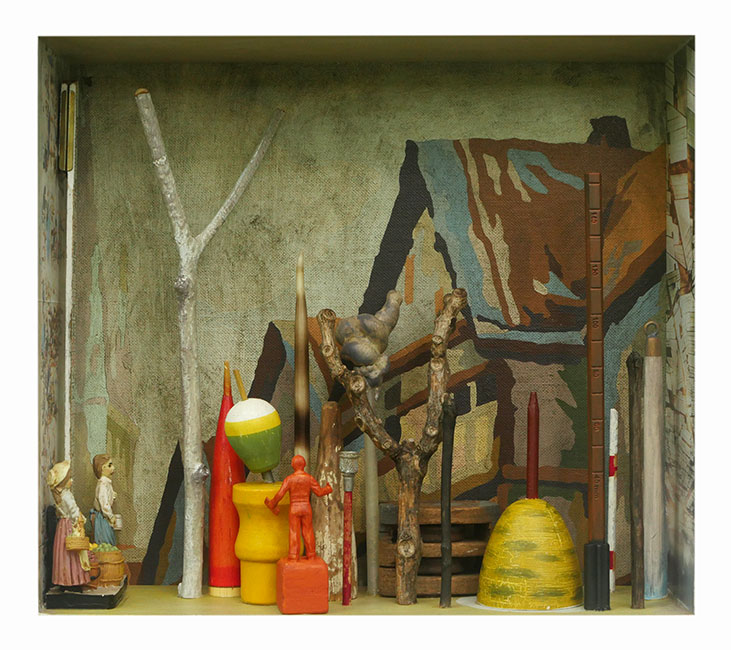 """The Next Street: Fruit Sellers   Mixed media and found objects,9-5/8"""" x 10-7/8"""" x 4"""", 2017"""