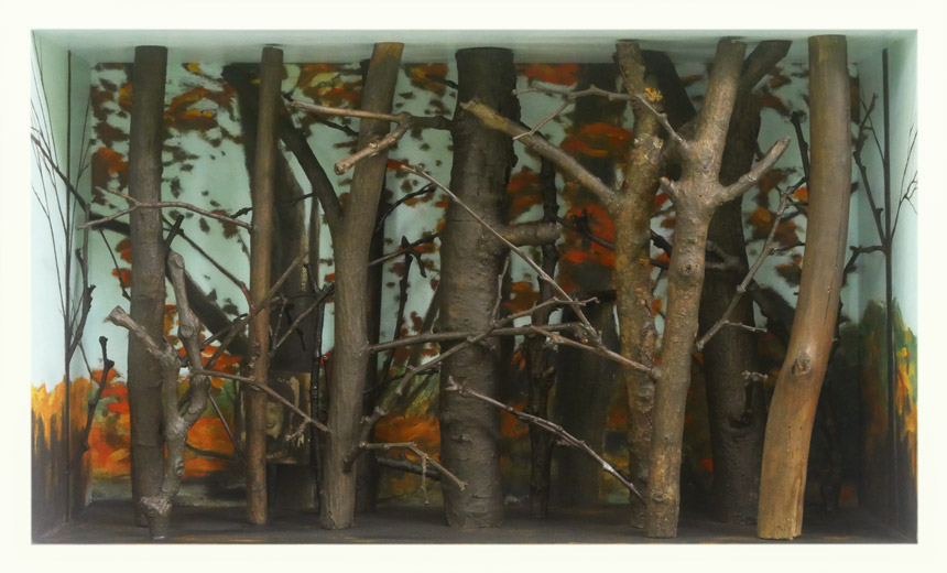 """Southbury Trees No. 16   Oil and acrylic on canvas and wood, and found objects, 10-1/2"""" x 17-3/8"""" x 6-1/4"""", 2019"""