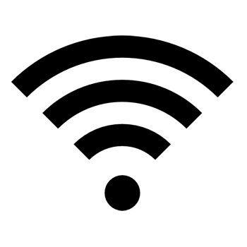 black and white icon of a wifi symbol