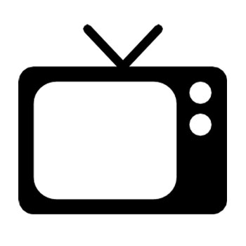 Black and White icon of a television set