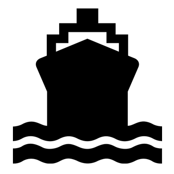Black and white icon of ship