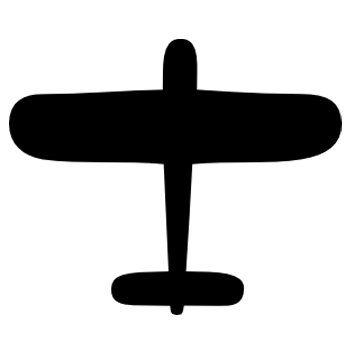 Black and white icon of airplane