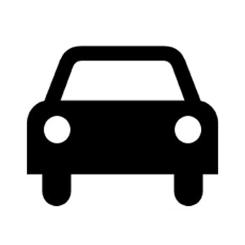Black and white icon of car