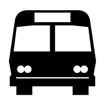Black and white icon of bus