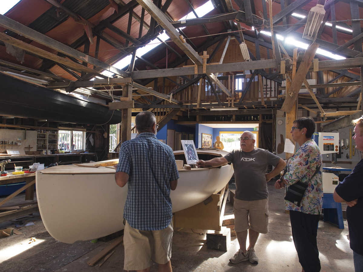 An explanation of what goes into the making of a boat - processes, types of timber etc. One of the boats recently built incorporates timber used around pipelines, cleaned up and recycled. New timber is at a premium.