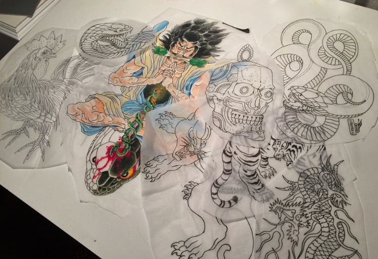 Tattoo preparatory drawings by Chris O'Donnell 2016