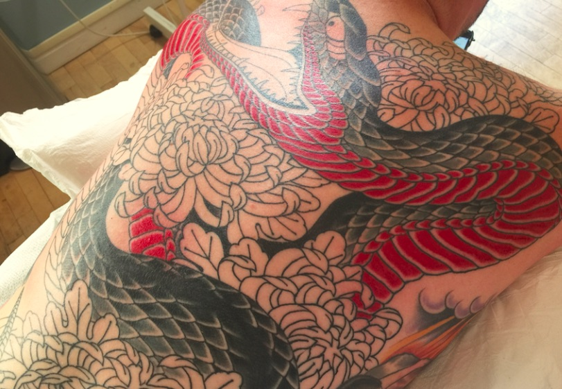 In-progress tattoo by Chris O'Donnell 2016