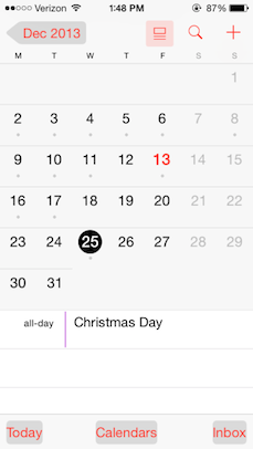 Calendar app with button shapes turned on