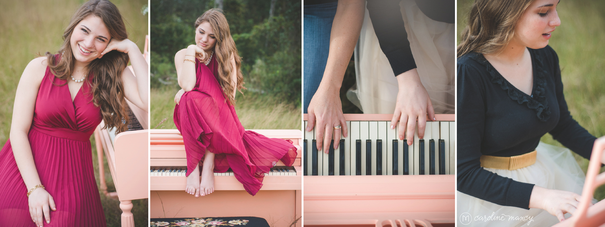 Sebring, FL Senior Photography with Caroline Maxcy Photography and a piano in a field.
