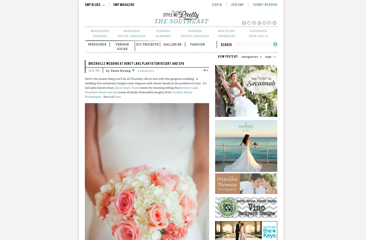 Caroline Maxcy Photography featured on Style Me Pretty