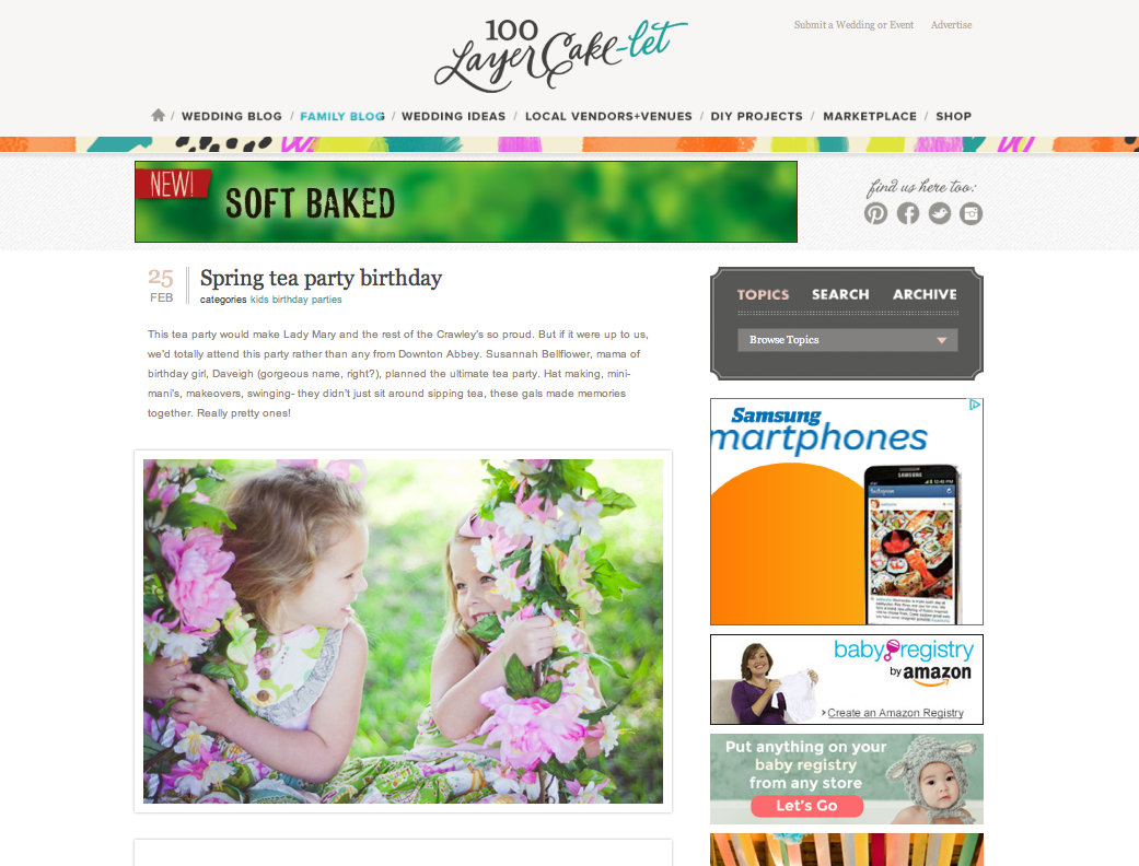 Caroline Maxcy Photography and Daveigh's springtime tea party birthday featured on 100 Layer Cake-let.