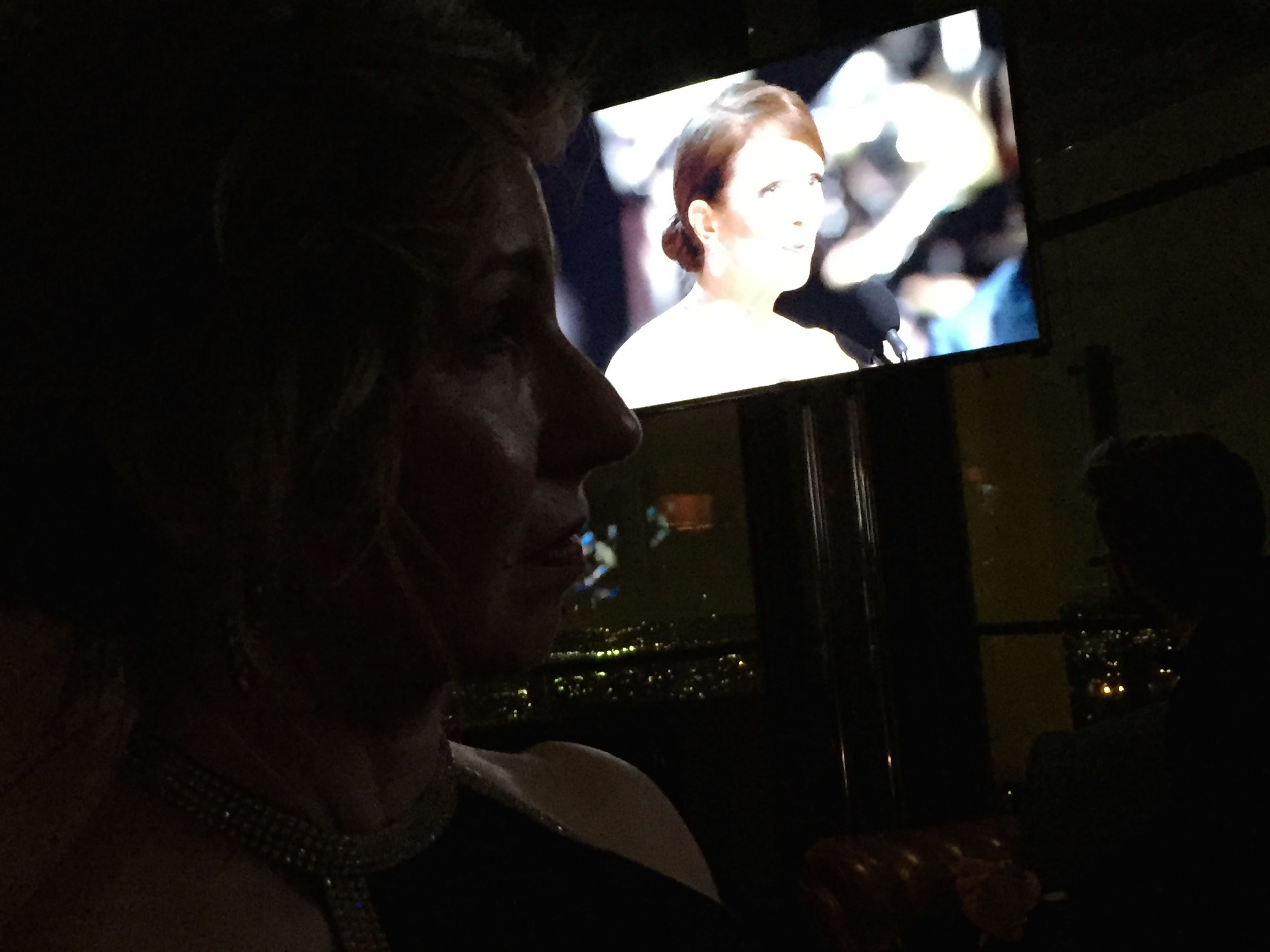 Catherine at Harvey Weinstein's Viewing Party with Julianne Moore accepting her Oscar.
