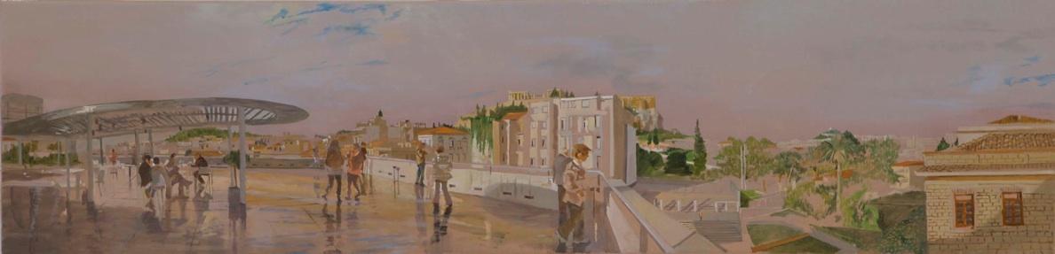 the acropolis museum deck  2010  oil on linen