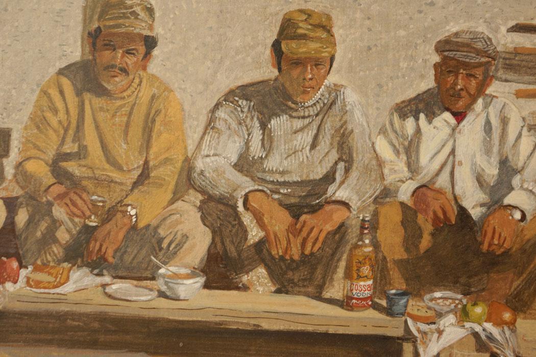 detail:  kolatsio, c onstruction workers on lunch break: egg tempera on board