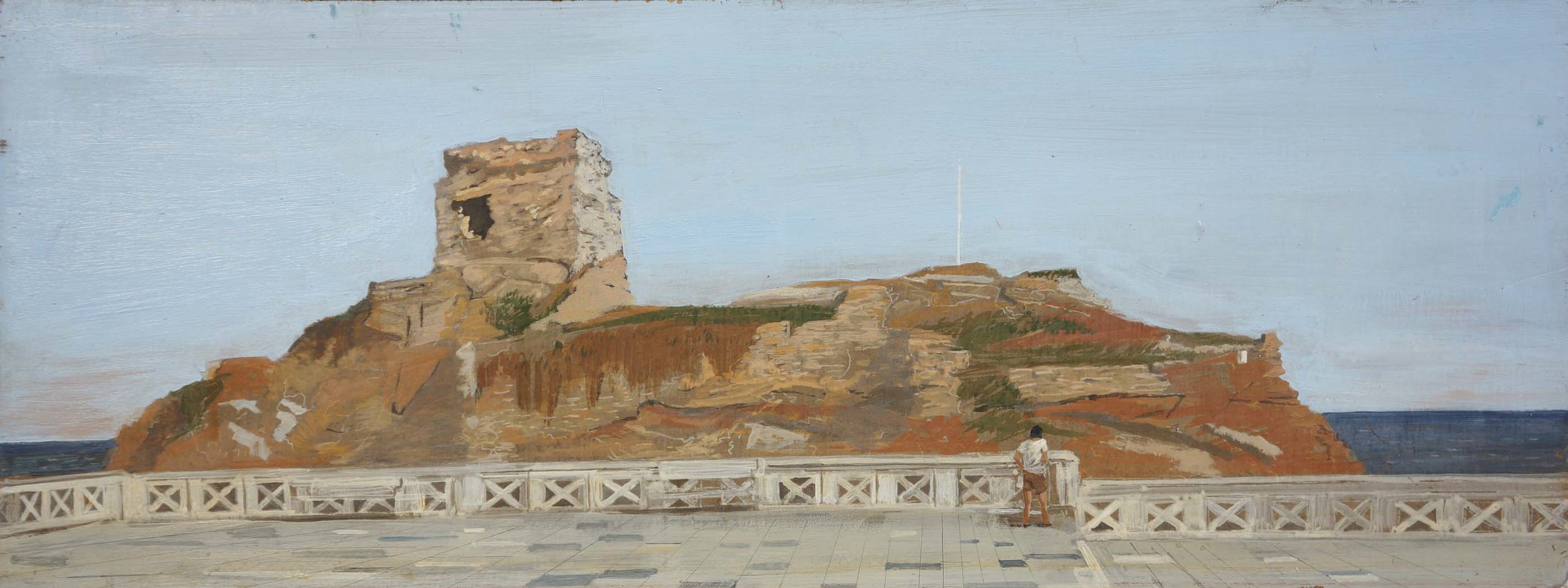 figure contemplating tourlos, andros   1975 egg tempera on board 18x47 cm.  coll. the artist