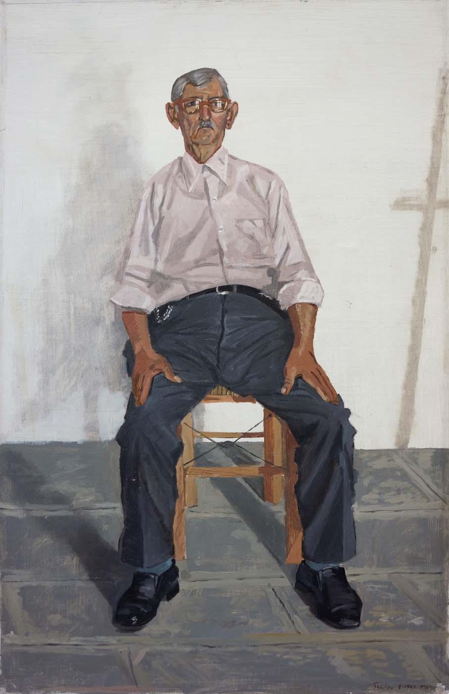 o kyrios yannis   1978 oil on canvas mounted on board, 48.5x31cm.  coll. the artist