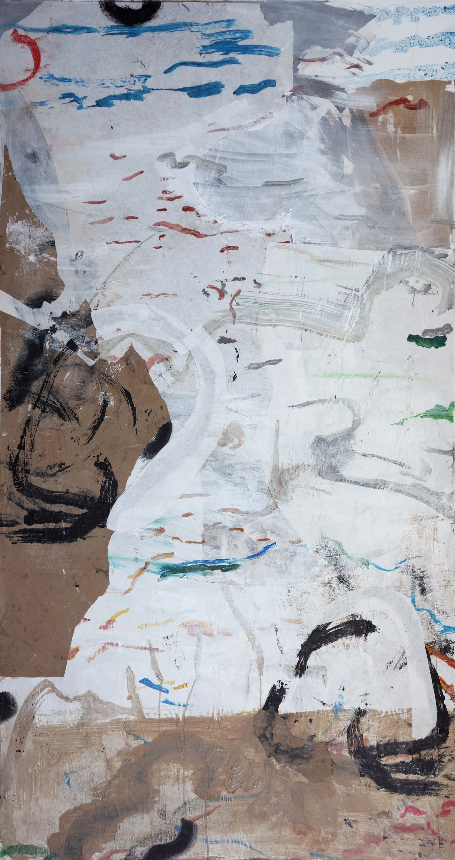 """emptier     1/3/13 72x38"""" acrylic & collaged paper on canvas"""