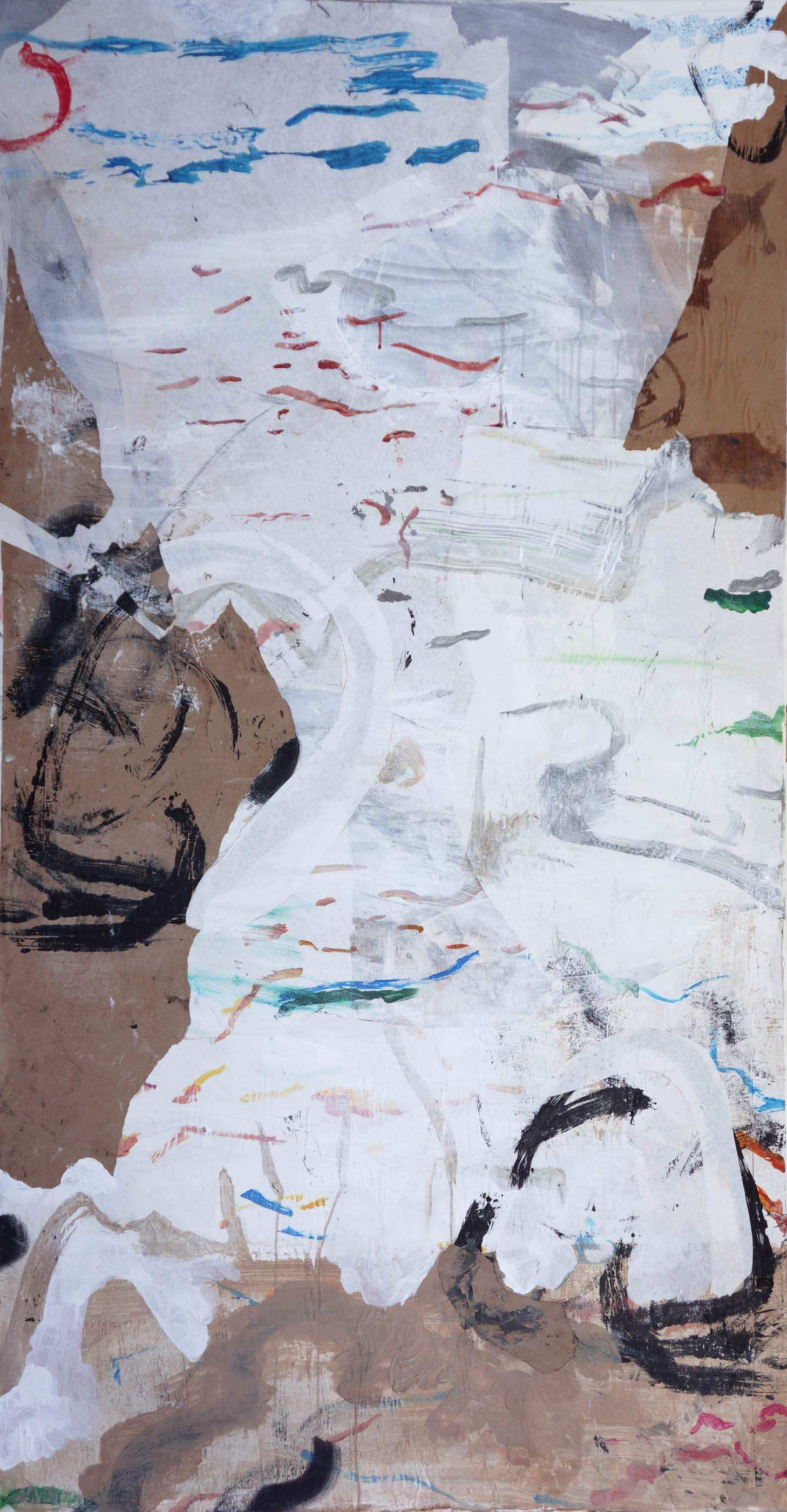 """emptier  1/4/13  72x38"""" acrylic & collaged paper on canvas"""