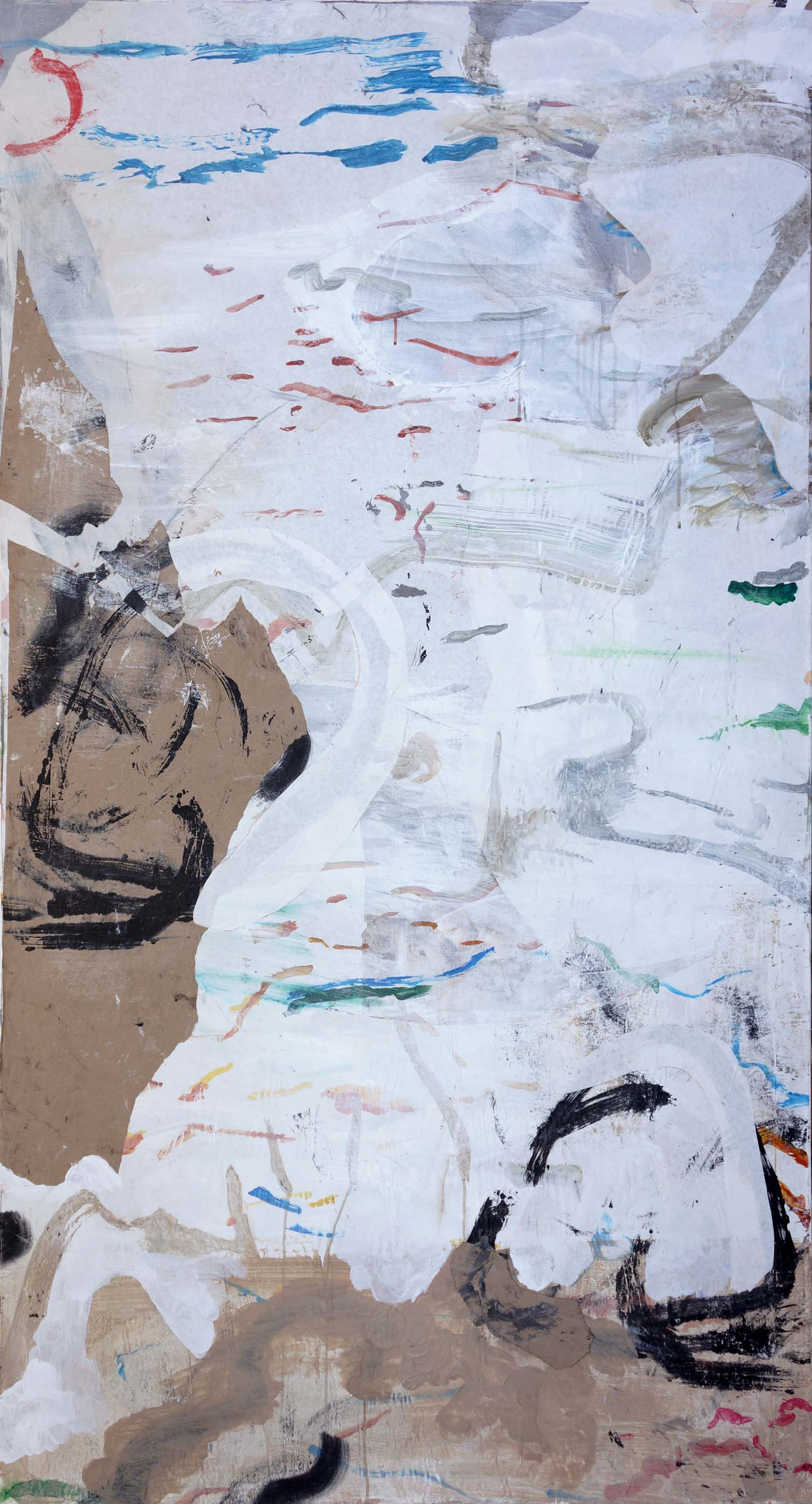 "emptier   78x25.5""  acrylic & collaged paper on canvas"