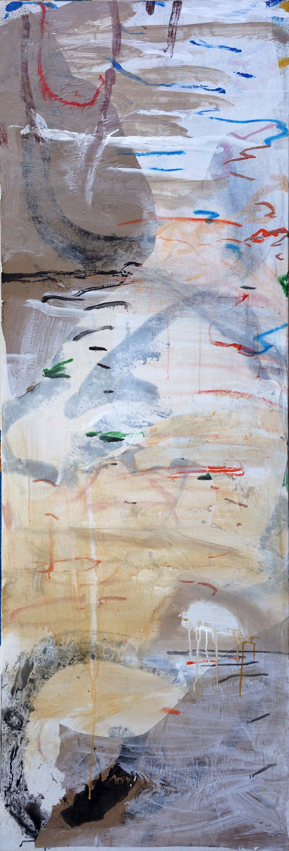 "stage 1:  autumn creek   78x25.5""  acrylic & collaged paper on canvas"