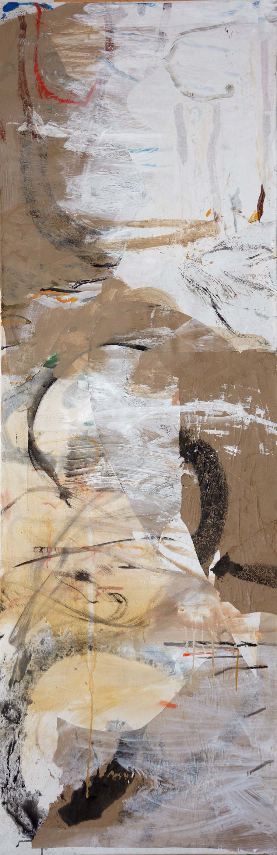 "autumn creek    78x25.5""  oil & collaged paper on canvas"