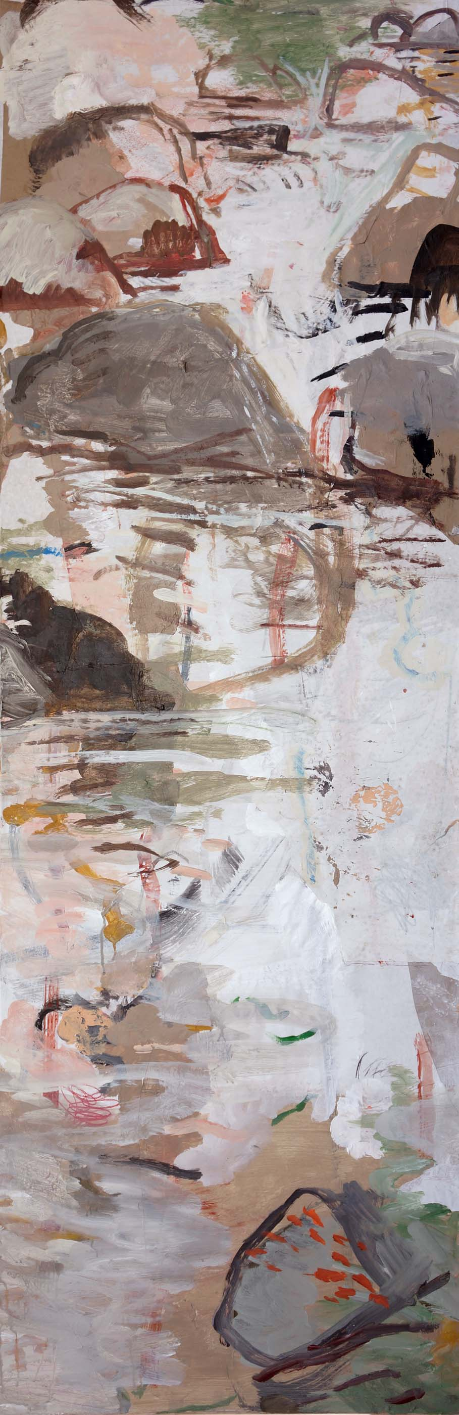 """autumn creek  78x25.5"""" january 9 state  2013 acrylic & collaged paper on canvas"""