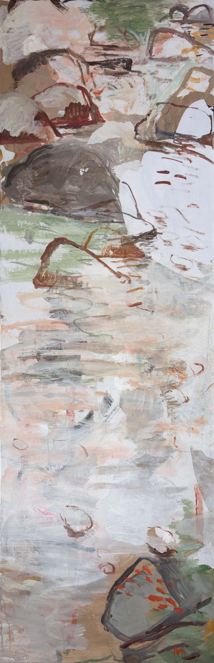 """autumn creek 78x25.5""""  january 10 state  2013 acrylic & collaged paper on canvas"""