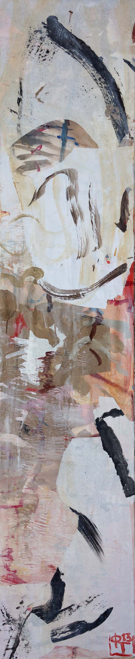 """creek with wind  78x15""""  acrylic & collaged paper on canvas"""