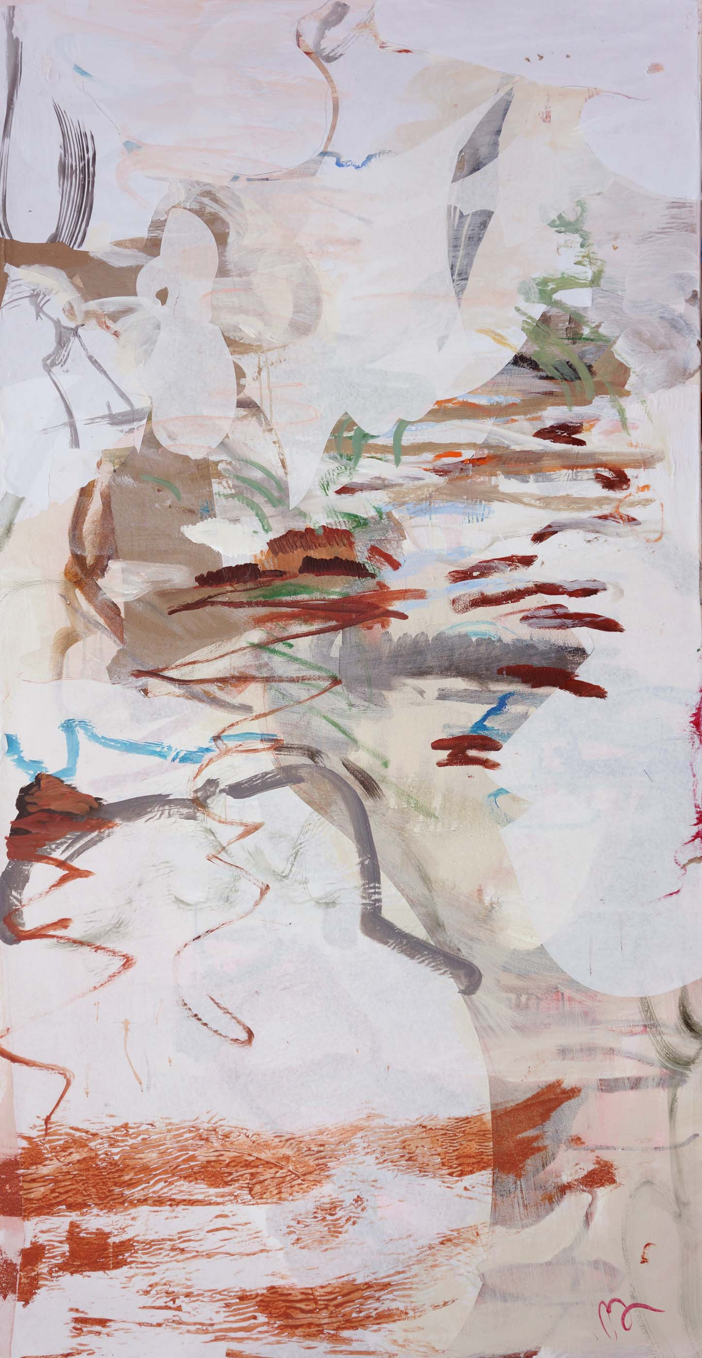 pink creek   72x38  jan. 26 - painting now complete  acrylic & collaged paper on canvas