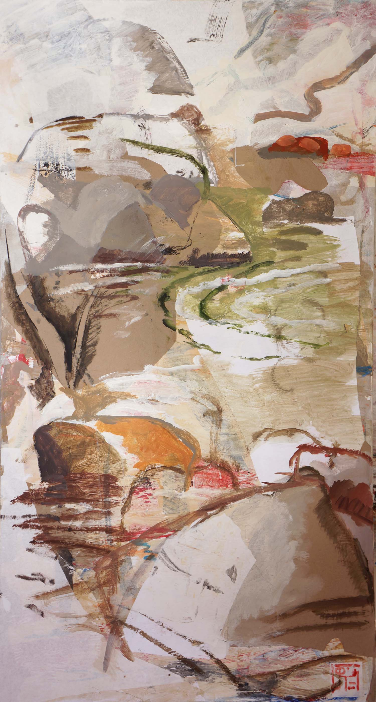 rocky creek  72x38 acrylic & collaged paper on canvas