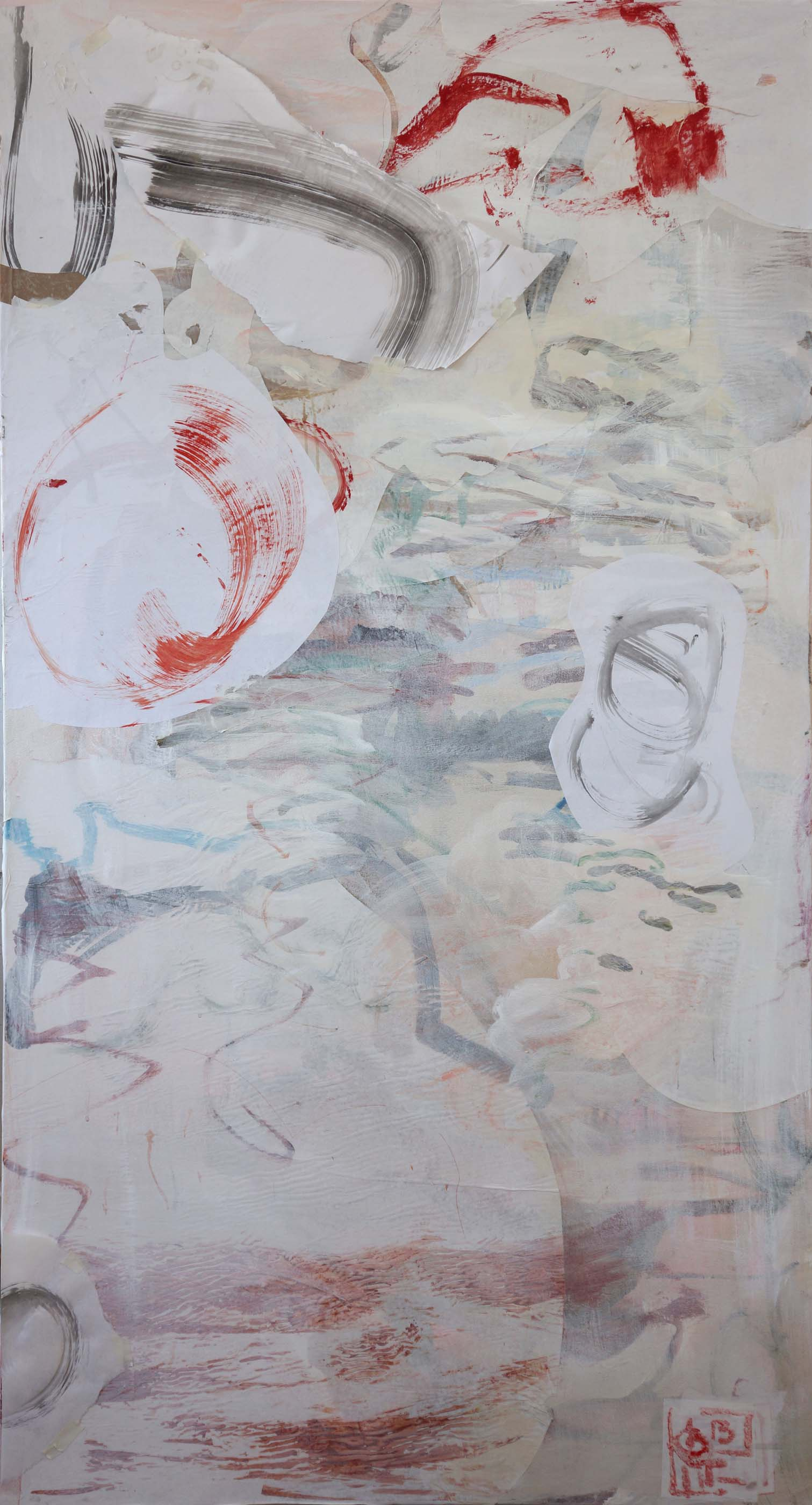 """pink creek  72x38""""  acrylic & collaged paper on canvas"""