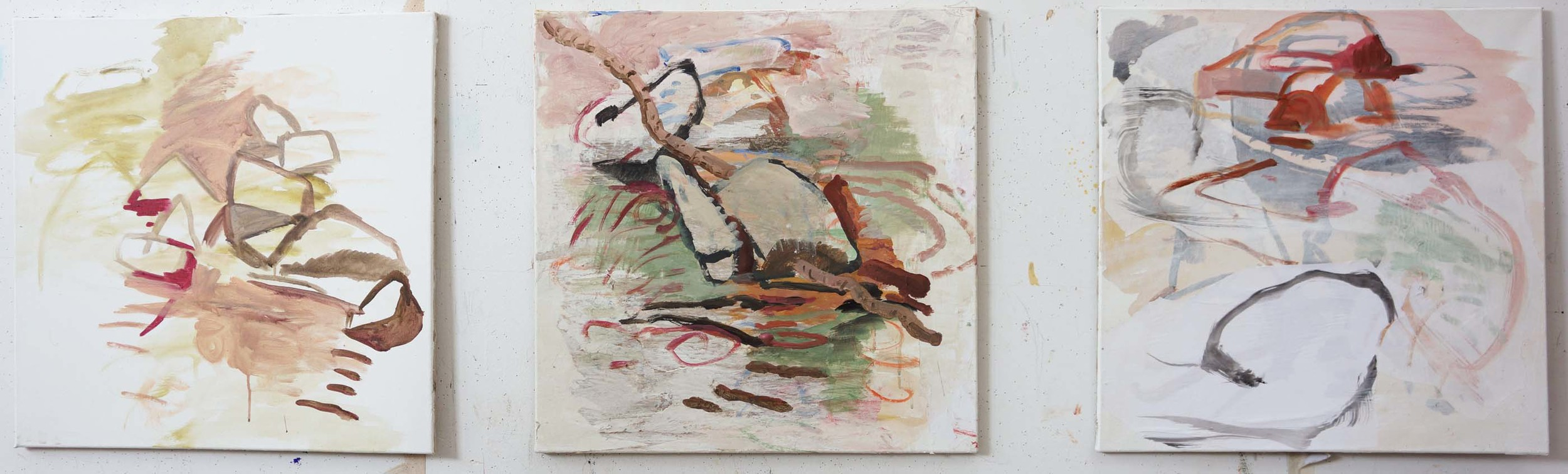 """creek tryptich  a suite of 3 25x25"""" canvases  acrylich & collaged paper on canvas"""