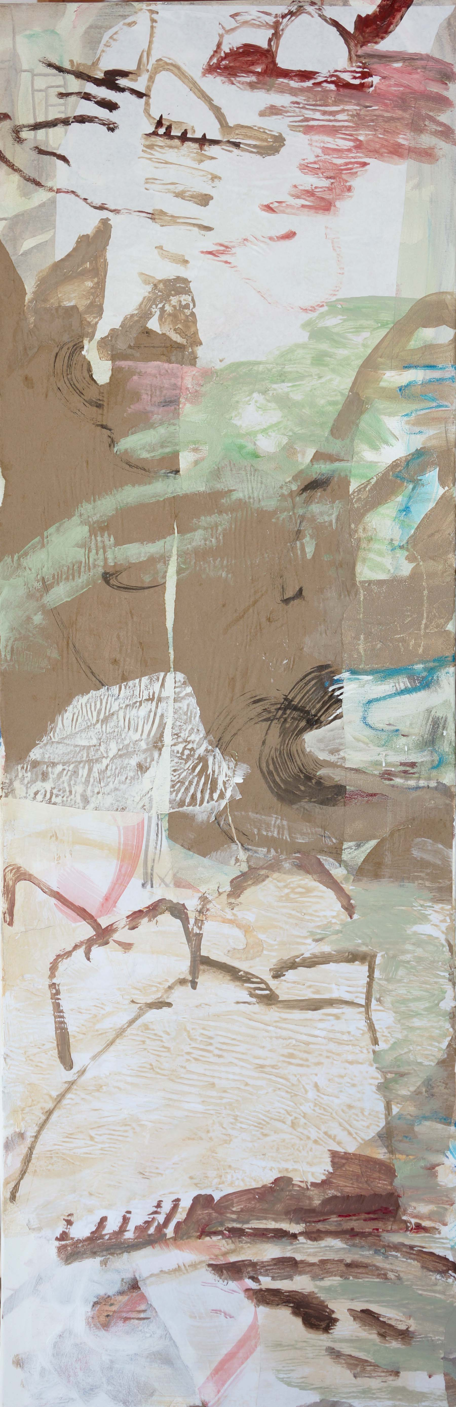 """tang creek  78x25""""  acrylic & collaged paper on canvas"""