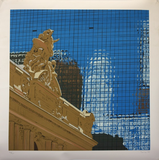 """grand central   published nyc, 1984  36x36"""" silkscreen,  #82/125  contact artist for pricing"""
