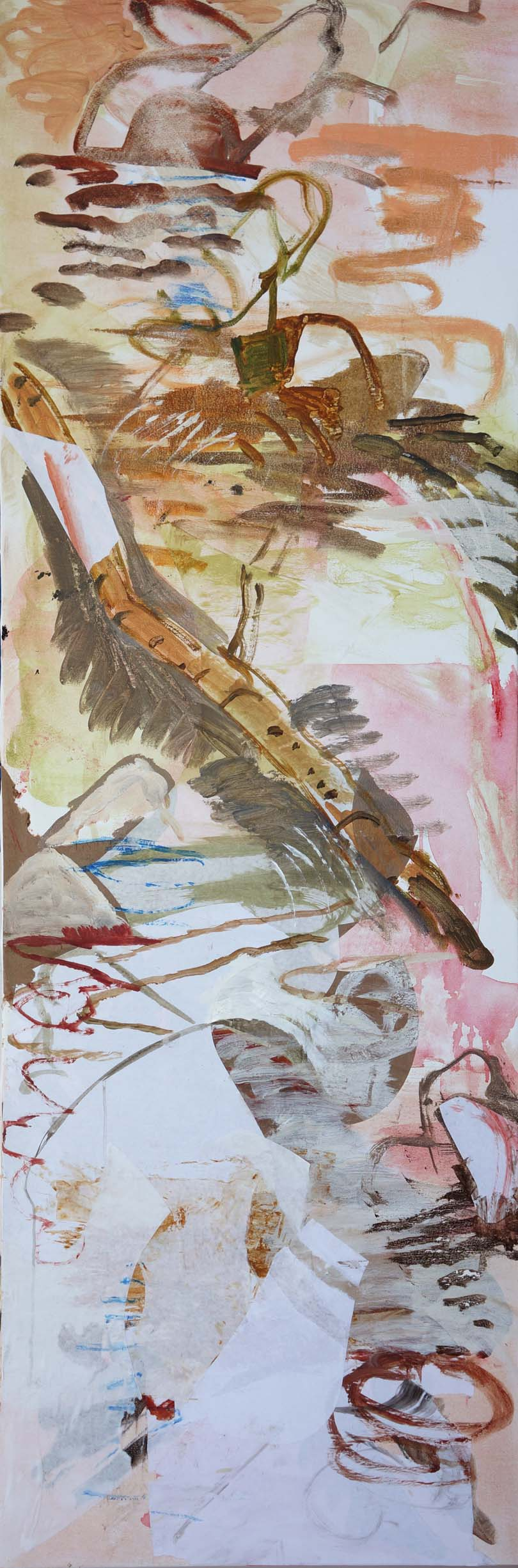 "song creek   78x26""  acrylic & collages paper on canvas"