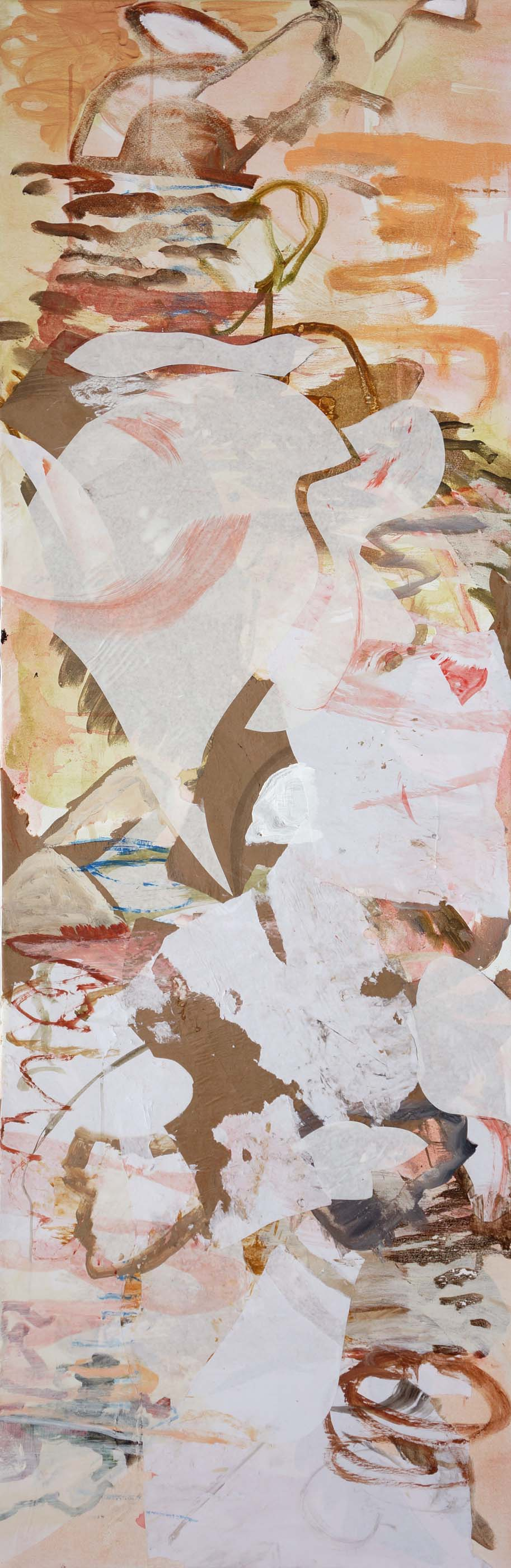 """song creek  78x28""""  acrylic & collaged paper on canvas"""