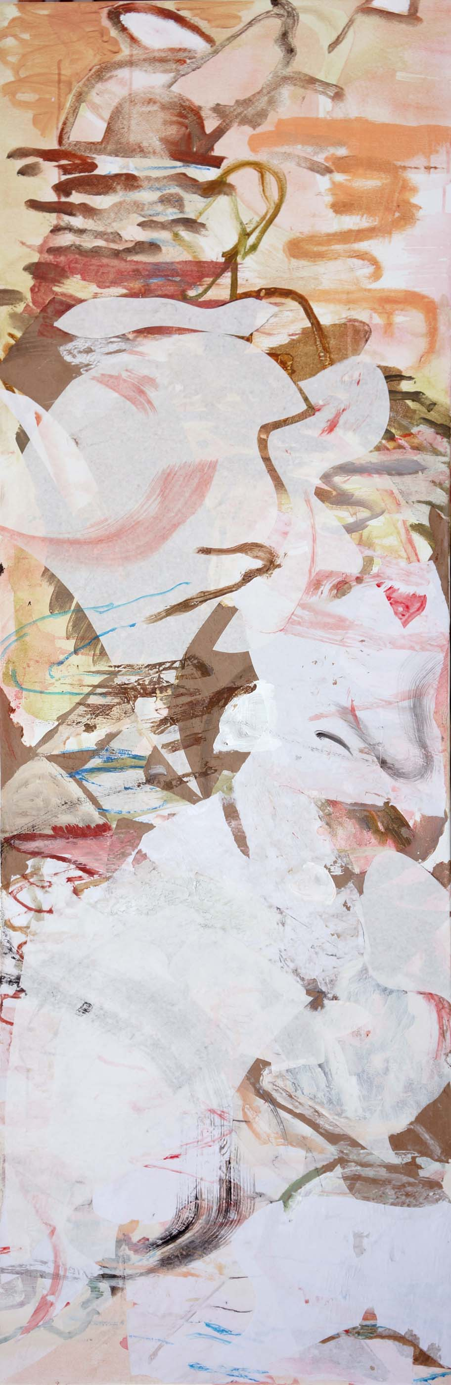 song creek  78x26  acrylic & collaged paper on canvas