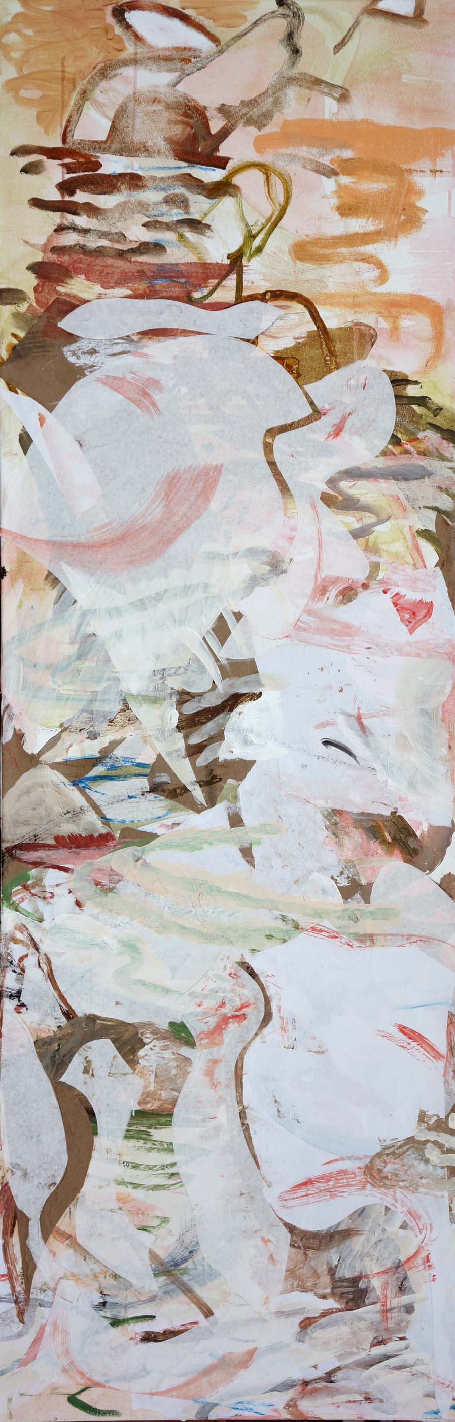 2.22.13  song creek  78x26  acrylic & collaged paper on canvas