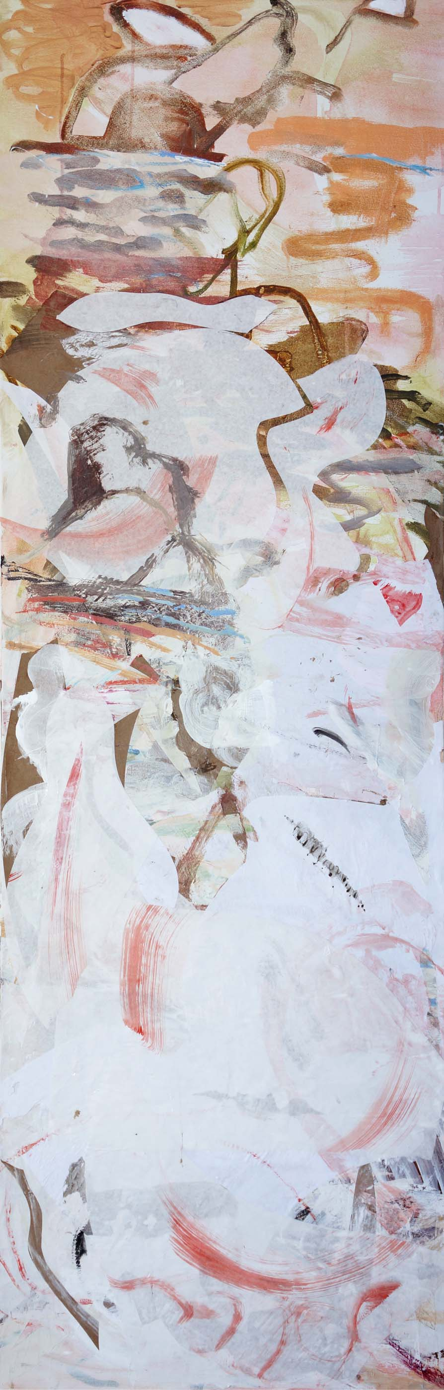 2.23.13  song creek  78x26  acrylic & collaged paper on canva