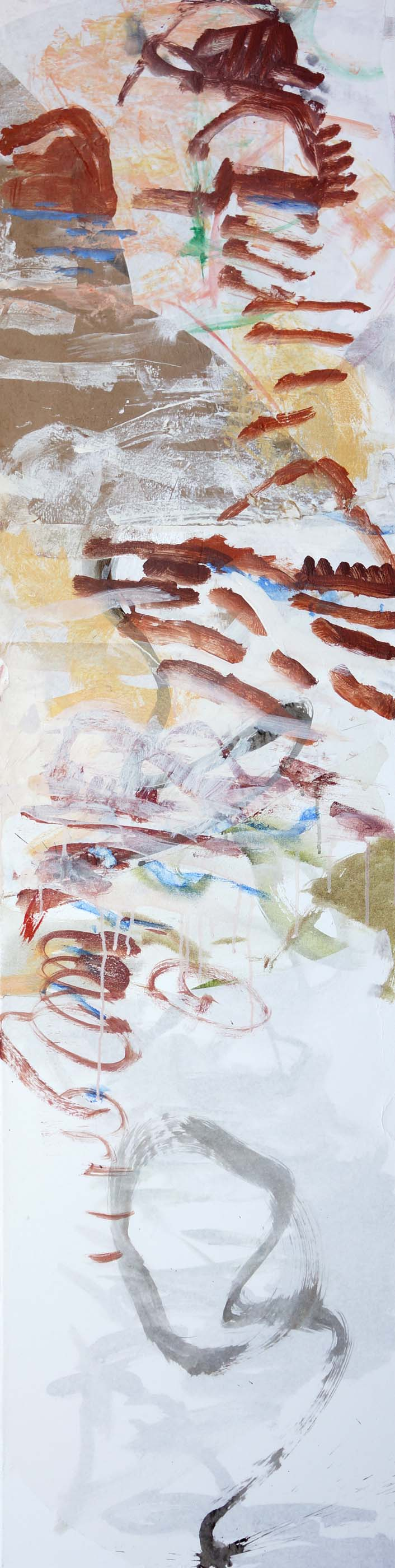 """DAY 1:   bada creek  72x18""""   acrylic & collaged paper on canvas"""