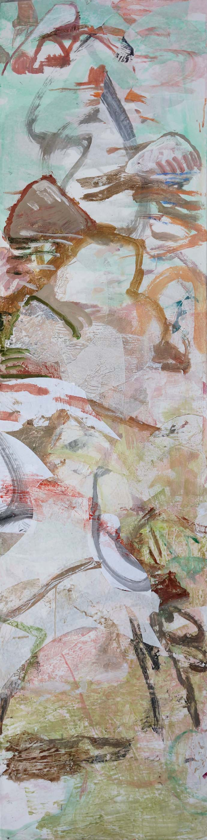 "3/11/13 version: bada creek 72x18""  acrylic & collaged paper on canvas"