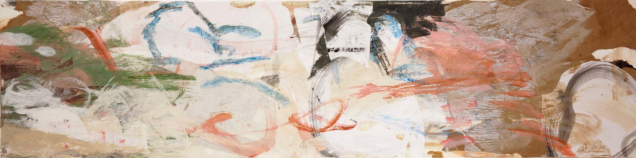 """DAY 5:  kuan creek  16x66""""  acrylic & collaged paper on canvas"""