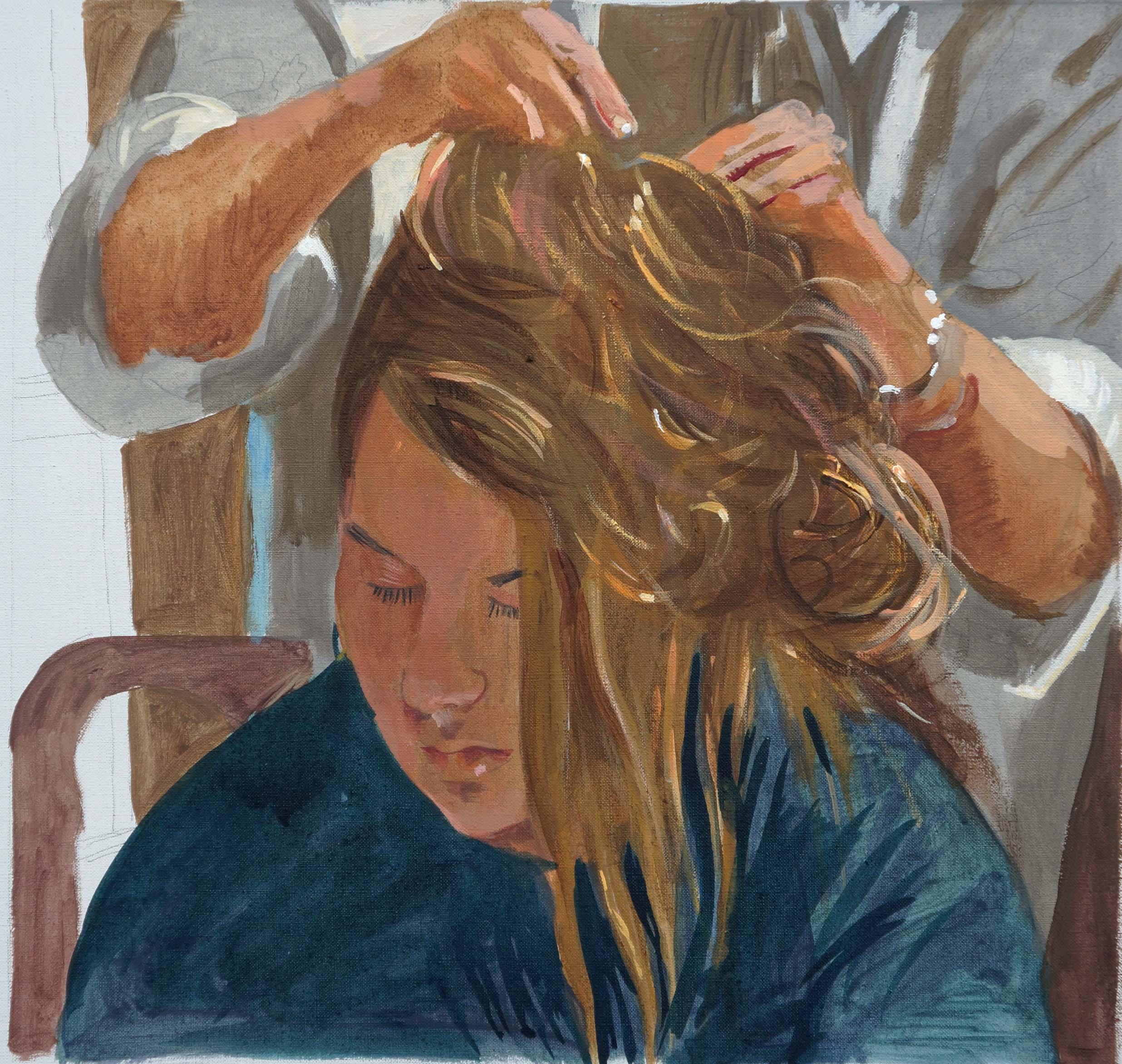 """portrait of m   14x14""""  acrylic on portrait linen"""