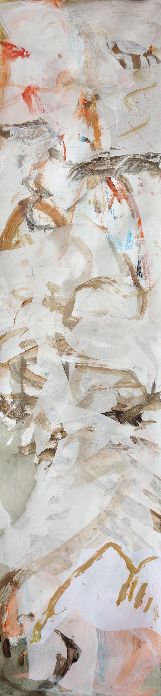 "5/7/13 version of  ni zan creek  66x16""  acrylic & collaged paper on canvas"