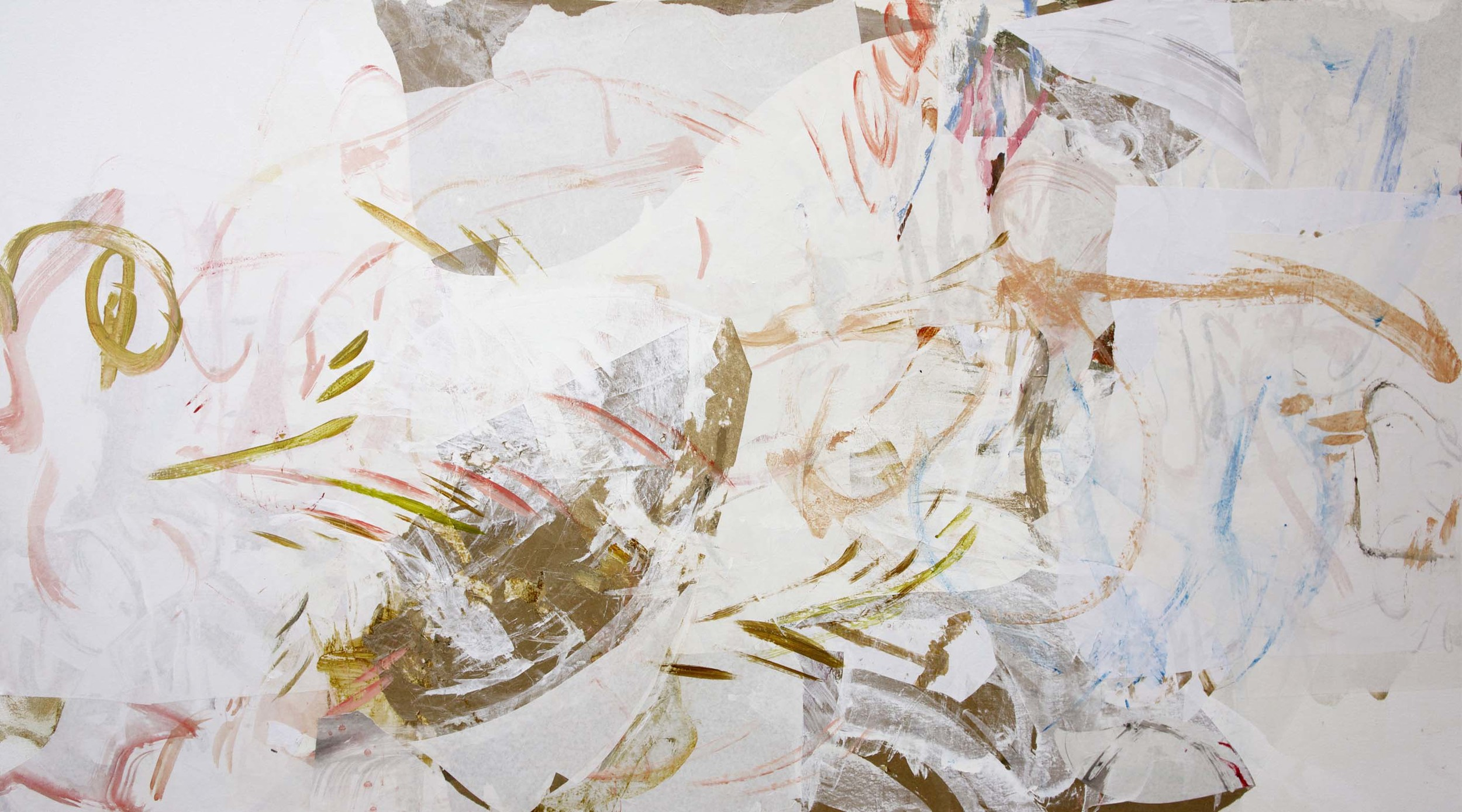 "gui creek   38x72""  acrylic & collaged paper on canvas"