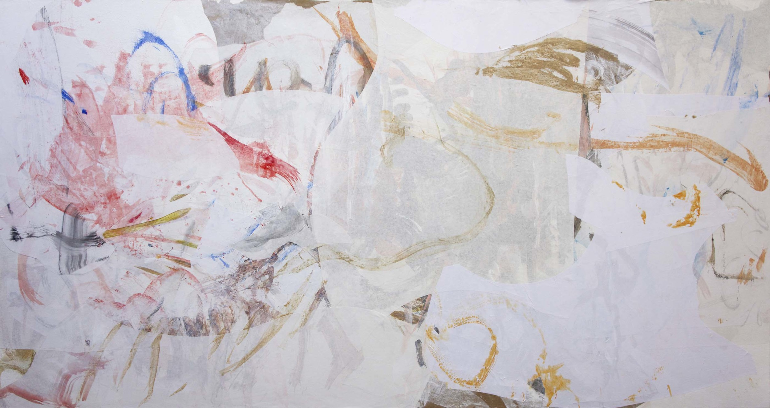 """gui creek  38x72""""  acrylic & collaged paper on canvas"""